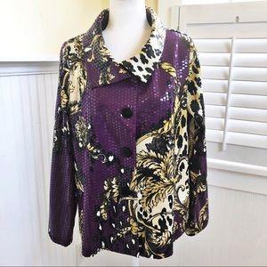 Simonton Says Purple and Animal Print Jacket - M